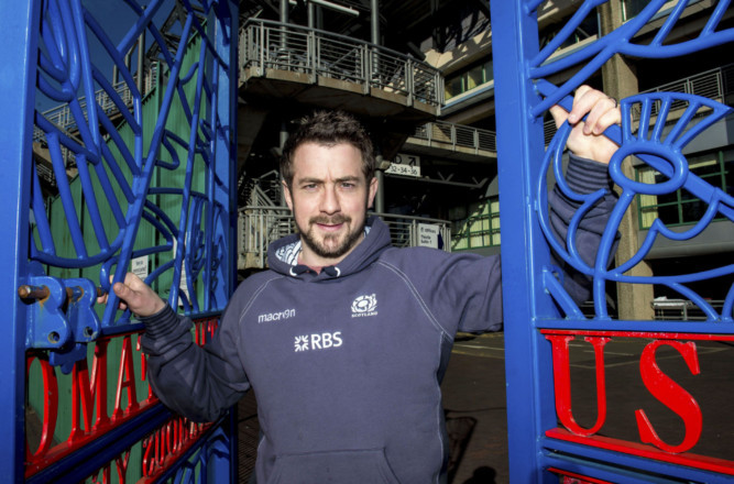 Greig Laidlaw at Murrayfield's Famopus Grouse Gates.