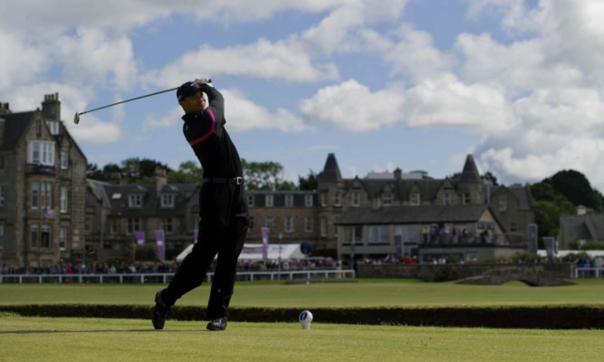 Tiger Woods tees off during the Open at St Andrews in 2010.