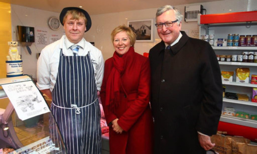 Support base: butcher William McGregor Councillor Lesley Laird and Fergus Ewing.