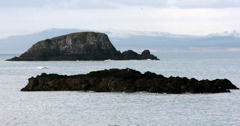 A view of Lamb Island (top) where Uri Geller plans to spend the night in search of Egyptian treasure.  It will be Geller's first visit to the outcrop, in the Firth of Forth, which he bought last year.