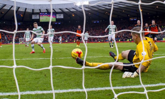 Rado Cierzniak saving James Forrest's penalty in the League Cup final.