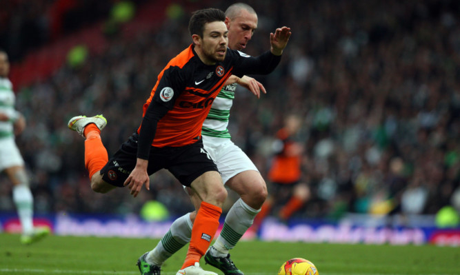 Scott Brown clashes with Ryan Dow in the incident United felt should have been a penalty.