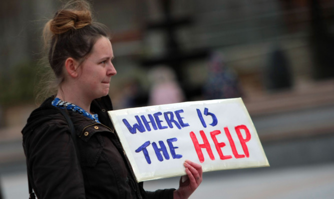 The group were protesting about the lack of help for people who have been in Carseview.