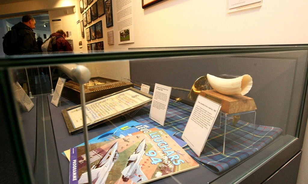 COURIER, DOUGIE NICOLSON, 14/03/15, NEWS. Pic shows some of the exhibits on display at the 'From Balloons To Typhoons' exhibition about RAF Leuchars at the Gateway Galleries in St. Andrews today, Saturday 14th March 2015. Story by Fife.