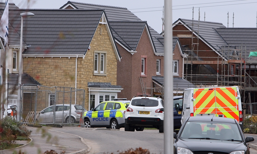 Kris Miller, Courier, 14/03/15. Picture today at Orchard Way (around no.51), Inchture shows police activity after a woman was apparently stabbed in her home early on Saturday morning.