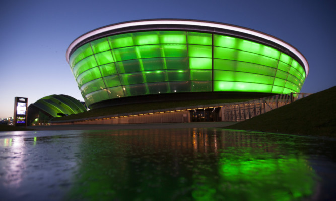 Glasgow's SSE Hydro Arena and Armadillo are among more than 100 international landmarks turning green to mark St Patrick's Day.