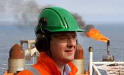 George Osborne during a visit to the Montrose field in the North Sea.