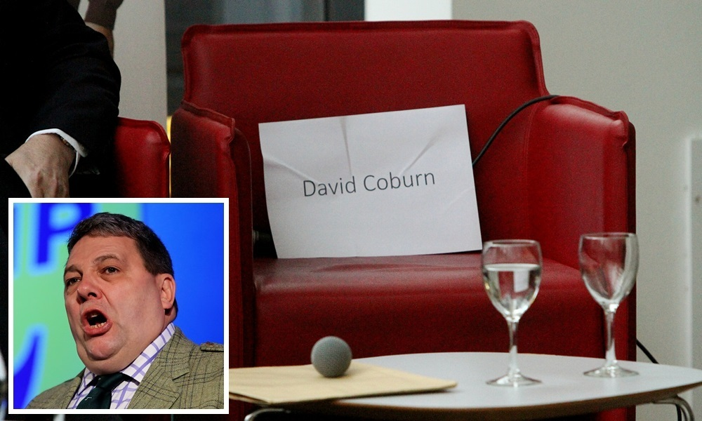 COURIER, DOUGIE NICOLSON, 16/03/15, NEWS. GENERAL ELECTION DEBATE, D&A COLLEGE, GARDYNE CAMPUS. Pictured at the debate today, Monday 16th March 2015, is the empty chair for David Coburn - UKIP. Story by Kieran.