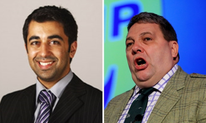 Europe minster Humza Yousaf (left) has asked the European Parliament to take disciplinary action against Ukip MEP David Coburn ()right.