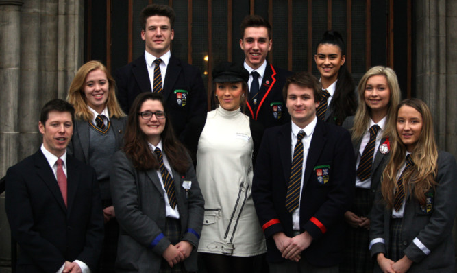 The organisers of the Dundee High School Business Breakfast with fashion designer Hayley Scanlon, centre.