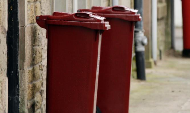 The new burgundy wheelie bins on Brook Street, Broughty Ferry.