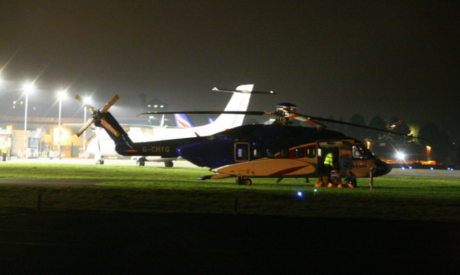 One of the several helicopters diverted to Dundee Airport as a result of fog at Aberdeen Airport.