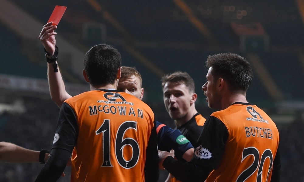 18/03/15 WILLIAM HILL SCOTTISH CUP QUARTER-FINAL REPLAY CELTIC v DUNDEE UTD CELTIC PARK - GLASGOW Dundee Utd's Ryan McGowan is show the red card