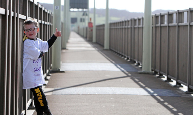 Daniel on the Tay Road Bridge leg of his fundraiser.