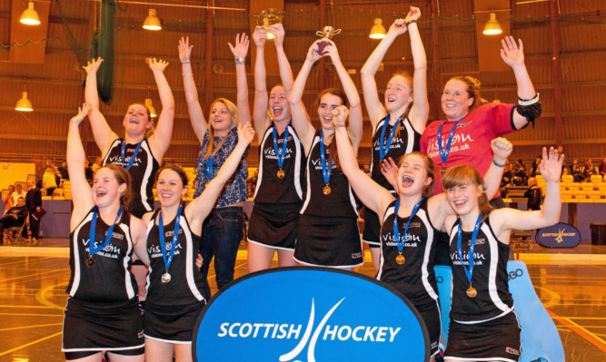 Dundee Wanderers ladies celebrate after winning the National Indoor League Gala Finals.