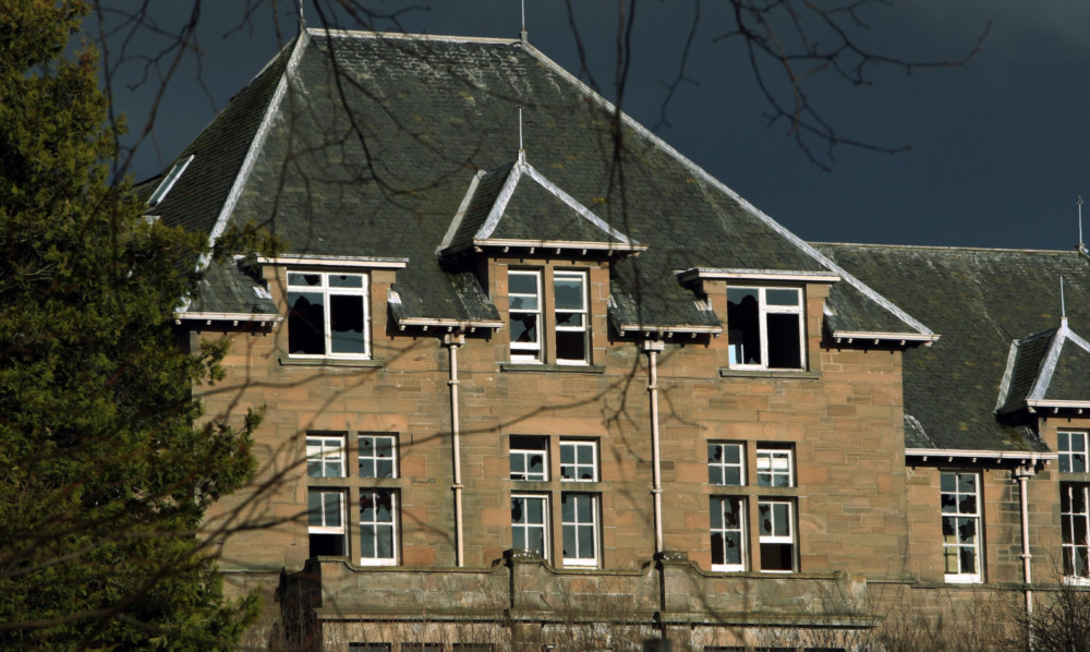 The deteriorating state of the former Strathmartine Hospital.