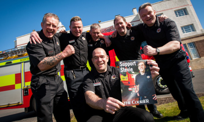 David Henderson (front) and (back, from left) David Paton, Kev Wishart, Stef Gardner, Bill Foster and Craig Robertson wishing Stevie well.