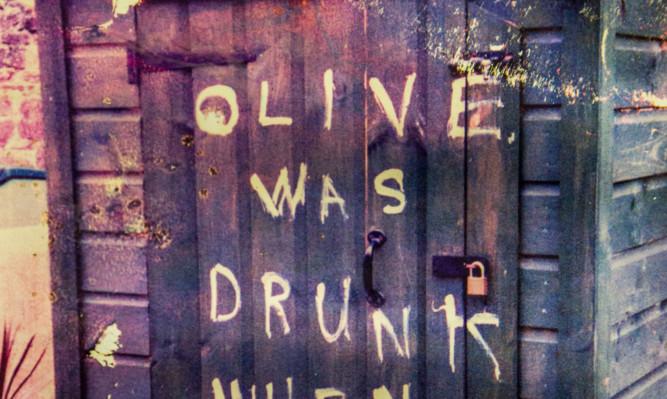 Bizarre graffiti daubed on Mr Spence's shed.