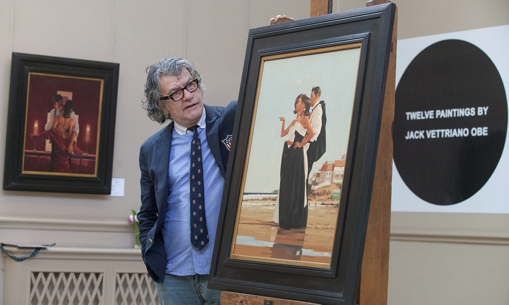 Artist Jack Vettriano O.B.E with The Missing Man (£100,000-150,000) at Bonhams in Edinburgh, where a collection of twelve paintings estimated at a total of between £800,000 - £1,200,000 will go to sale on 27th March. The pictures are fresh to the market and provide a cross section of the themes that have informed Vettriano's work for many years. March 27 2015.  See CENTREPRESS story CPPAINT.