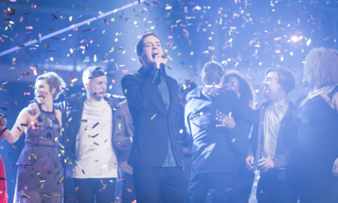 Stevie McCrorie performs at The Voice final.