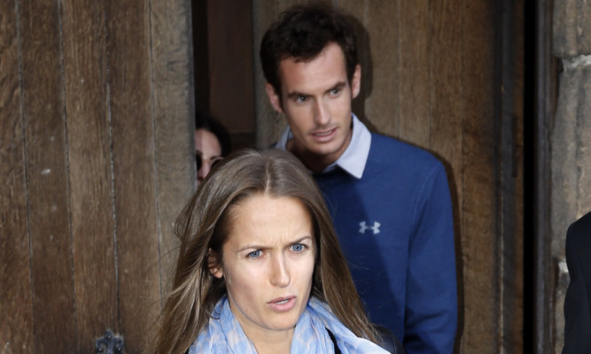 Kim Sears and Andy Murray seen leaving Dunblane Cathedral after a rehearsal the day before their wedding.