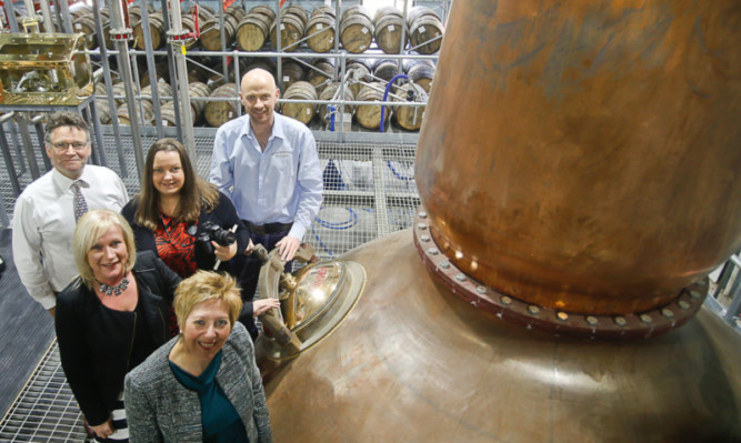 Pictured at the Kingsbarns Distillery are, from front, Councillor Lesley Laird, Sandra Montador-Stewart of Fife Council, Christopher Trotter, Nicola Holland and Doug Clement.
