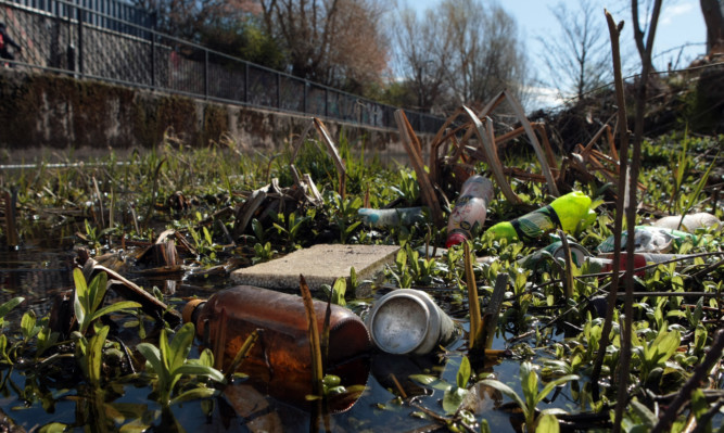 Some of the rubbish that has built up in the Lade beside St Catherines Retail Park, Perth.