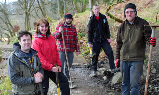 Clearing up the trails. From left: Andrew Stanley, Bridget Thomas, Scott Murray, Digby Sym and Colin McPhail.