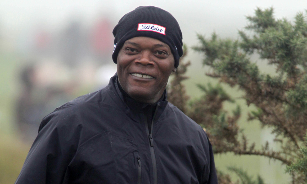 Samuel L Jackson playing in the Alfred Dunhill Links Championship at St Andrews.