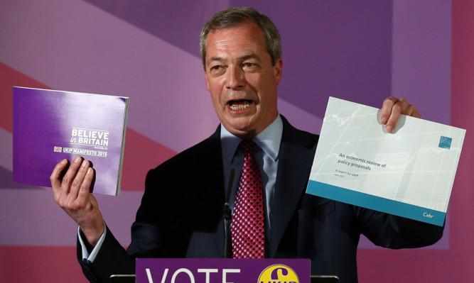 Nigel Farage at Ukip's manifesto launch.