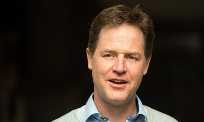Nick Clegg during a General Election campaign visit to the Thainstone Centre  in Inverurie.