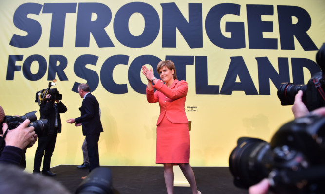 SNP leader Nicola Sturgeon at Monday's manifesto launch.