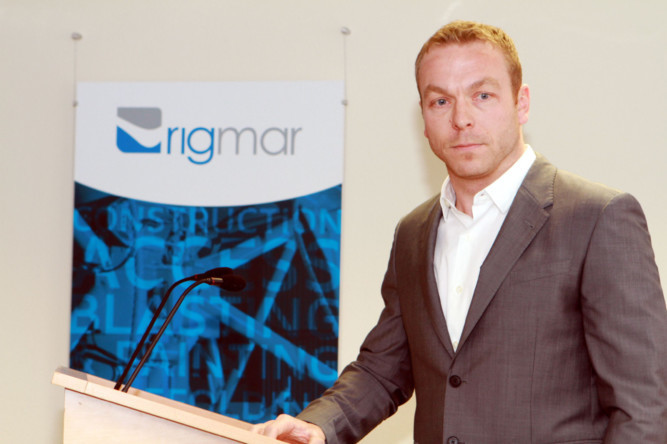 Happier times: Sir Chris Hoy at Rigmar House. The firm is releasing some of its Dundee workforce because of the difficulties facing the industry.