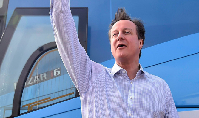 David Cameron campaigning on Thursday.