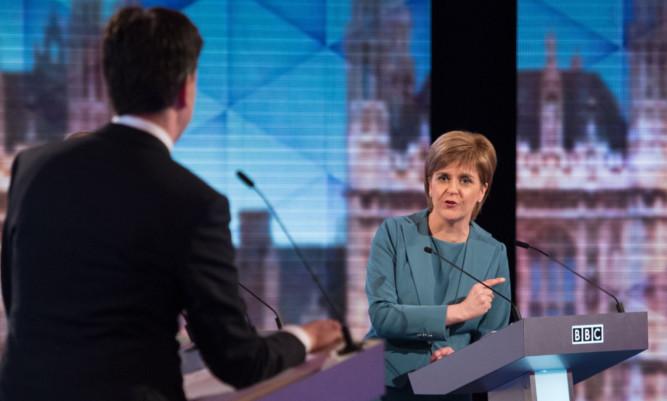 Nicola Sturgeon and Ed Miliband during last week's BBC TV debate.
