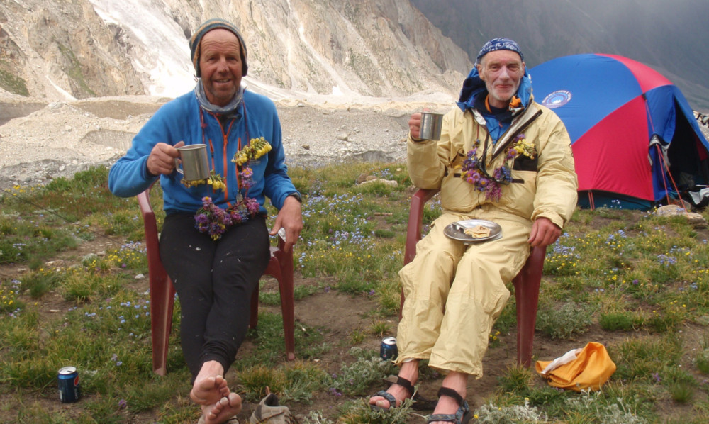 Sandy Allan and Rick Allen at the Diamir base camp in Pakistan.