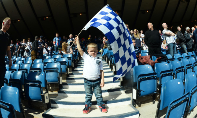 A young Falkirk fan at the semi-final.