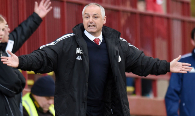 Frustration for Ray McKinnon during first leg.