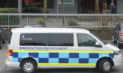 The Home Office van leaving the Jasmine Restaurant following the raid.