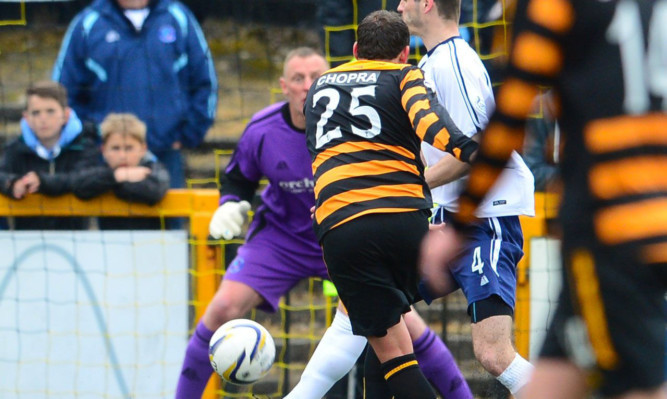 Alloa's Michael Chopra fires it home to put his side in the lead.