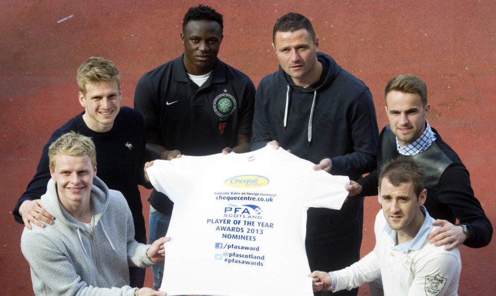 (From left) Dundee United pair Gary Mackay-Steven and Stuart Armstrong , Celtics Victor Wanyama, Motherwells Michael Higdon, Inverness CTs Andrew Shinnie and Aberdeens Niall McGinn.