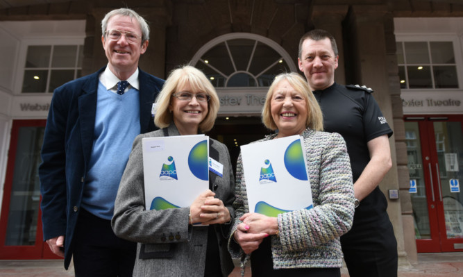 From left: adult protection and review officer Mark Hodgkinson, adult protection committee chairwoman Margaret Wells, Councillor Glennis Middleton and Chief Inspector Gordon Milne.