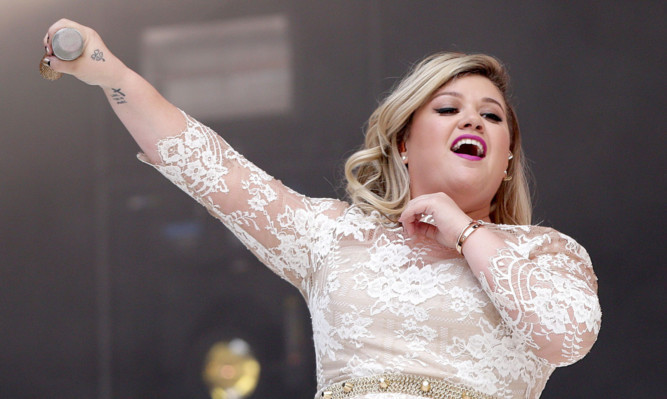 Kelly Clarkson performing at Wembley on Saturday.