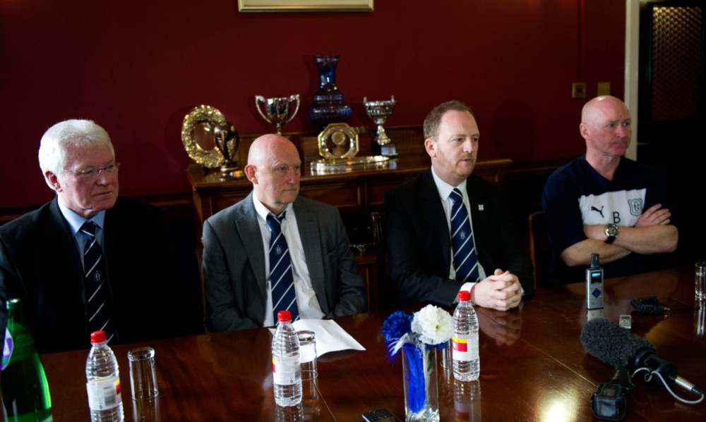 Dundee directors Dave Forbes (left) and Ian Crighton (second from left) with chief executive Scot Gardiner and John Brown at yesterdays announcement at Dens Park.