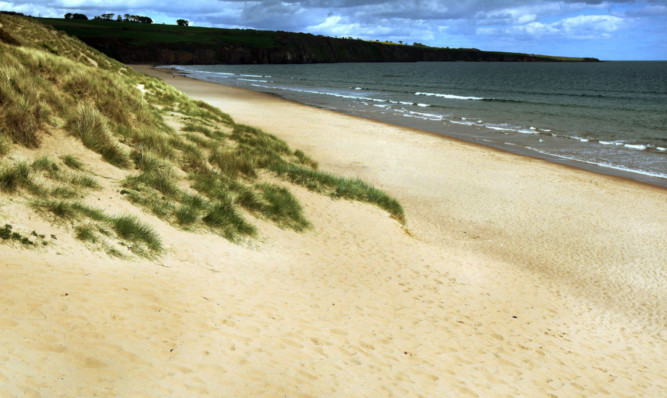Visitors were unable to get into the car park at Lunan Bay due to a row with a group of campers.