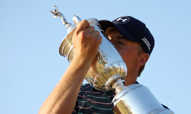 Jordan Spieth with the US Open Championship trophy.