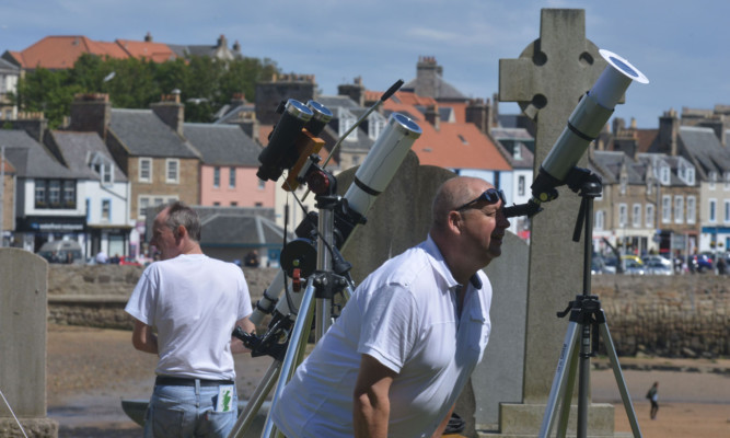 Visitors taking part in the weekend's astronomical activities.