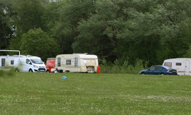 Travellers camped out at Lochdee Meadows in Glenrothes earlier this month.