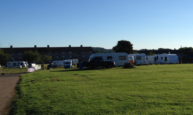 The Travellers at the site on Tuesday morning.