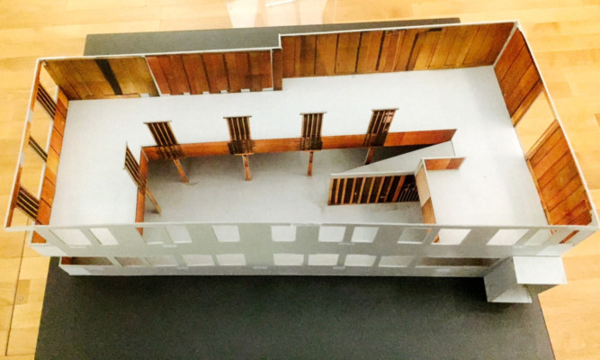 A scale model of Charles Rennie Mackintosh's Oak Room, which will be restored and exhibited at Dundee's V&A.